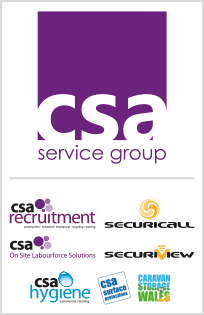 CSA Service Group: CSA Recruitment, CSA On-Site Labourforce Solutions, CSA Hygiene, CSA Surface Protections, Securicall, Securiview, Caravan Storage Wales